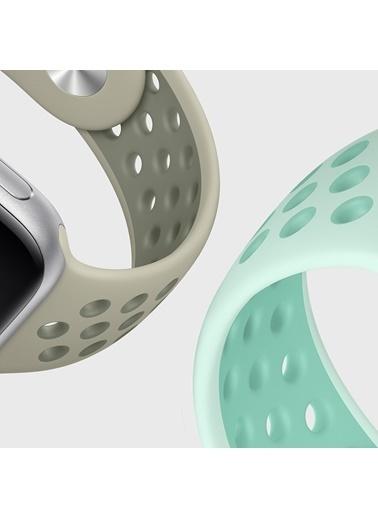 Microsonic Apple Watch Series 6 44mm Rainbow Sport Band Kordon Gri Beyaz Siyah